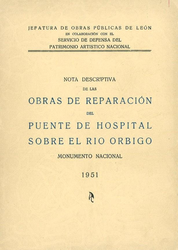 Nota descriptiva de las obras de reparación del puente de Hospital sobre el río Órbigo