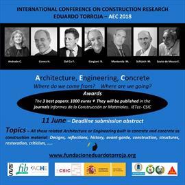 International Conference on Construction Research Eduardo Torroja AEC 2018. Envío de comunicaciones
