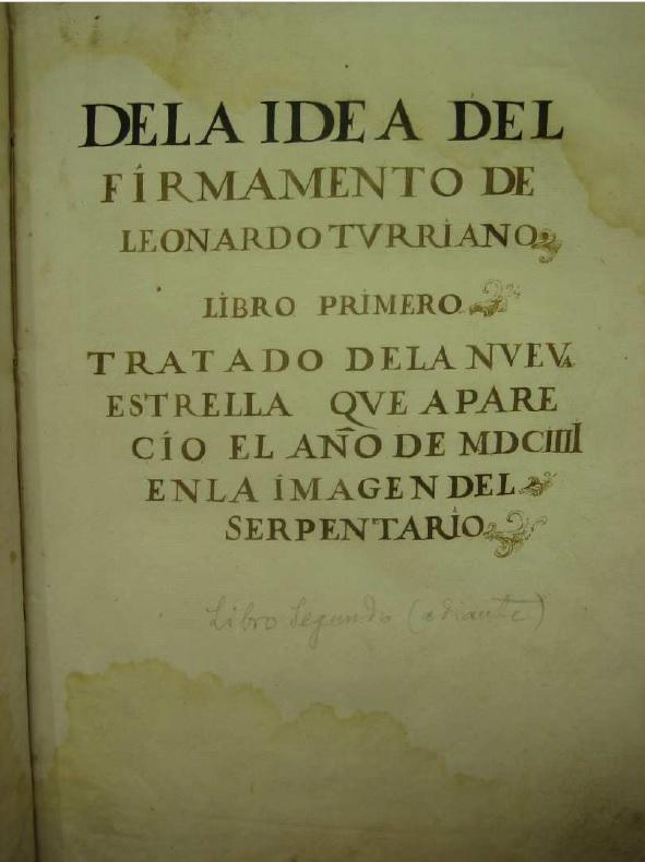 De la idea del firmamento de Leonardo Turriano. Manuscrito inédito