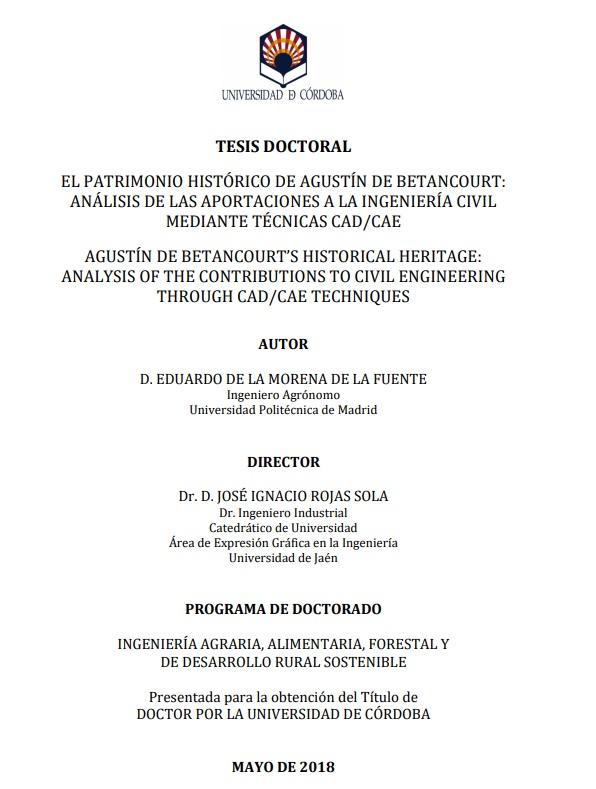 El patrimonio histórico de Agustín de Betancourt [Agustín de Betancourt's historic heritage], PhD. thesis