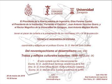 Técnica e ingeniería en España [Technology and engineering in Spain]. New volumes